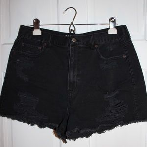 American Eagle Outfitters black ripped jean shorts